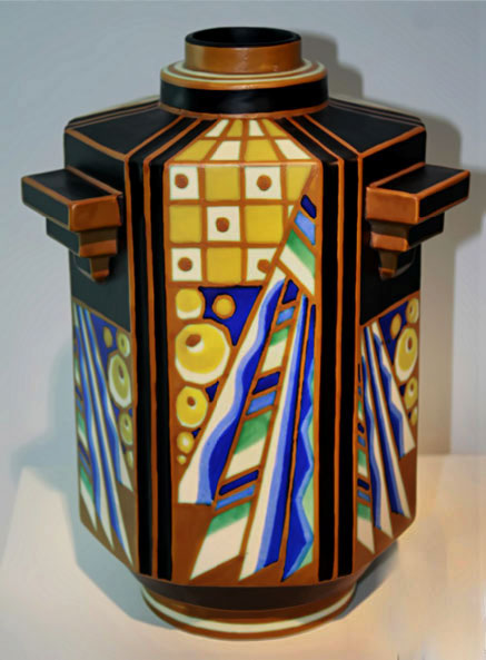 Charles Catteau polychrome Art Deco vase