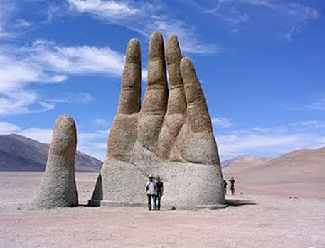 Chilean artist Mario Irrizábal hand sculpture in the desert