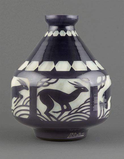 Art Deco vase with a deer motif - Charles Catteau