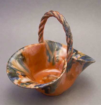 19th century ceramic drip glaze basket.