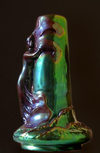 Zsolnay Art Nouveau vase lustre glaze