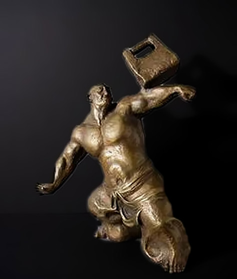 Bronze Muscle Man lifting a weight