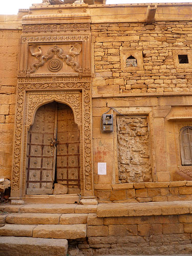 old building stone facade in Jaisalmer, India