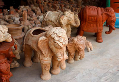 terracotta statues at Kaki Village pottery