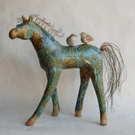 Michelle MacKenzie green horse and birds figurine