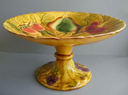 French Majolica Fruit Tall Cake Stand