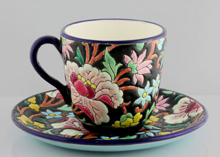 Art Deco majolica cup and saucer