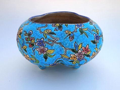 Floral Turqouise Longwy bowl