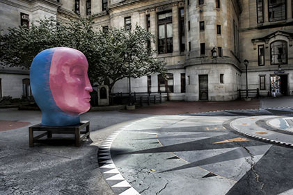 huge sculpture head by Jun kaneko
