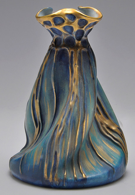 Art nouveau amphora with folded shape in turquoise, gold and blue
