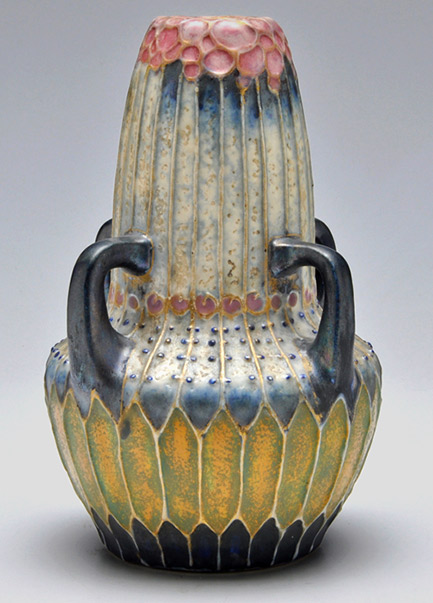 Amphora Art Nouveau vase with four handles