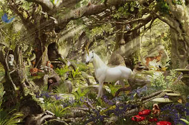 White horse in the woods painting