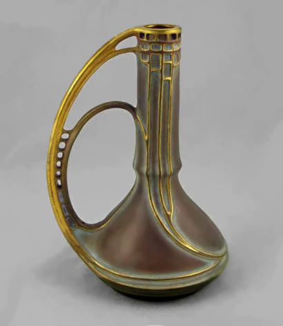 Elegant art nouveau gold handled vessel