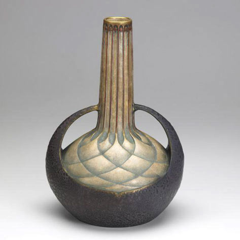 Geometric patterned vessel with twon handles - art nouveau