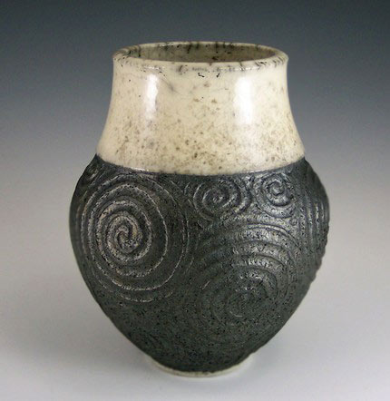 Raku Carved Vase - Anne Webb - spiral incisions on black surface