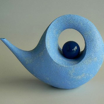 Rick Rudd ceramics light sky blue teapot
