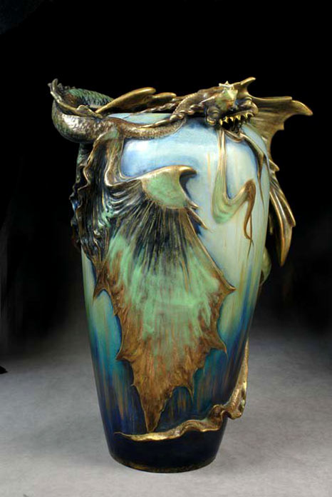 Amphora vase with a dragon decorative motif in greens and gold