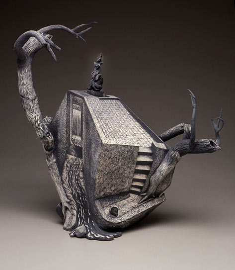 Sgraffito ceramic sculptural teapot by Chris Wiess