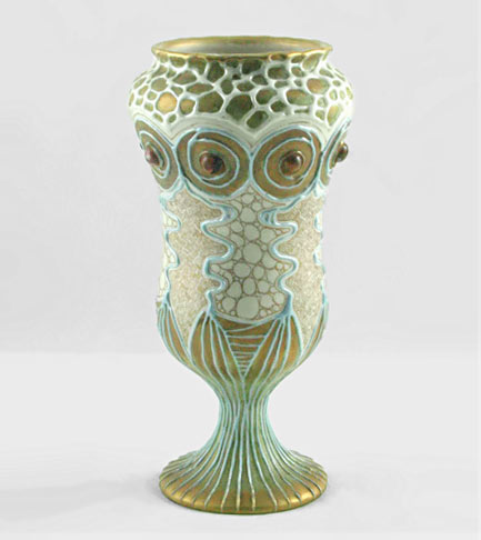 Exquisite Klimt styles Amphora footed vase