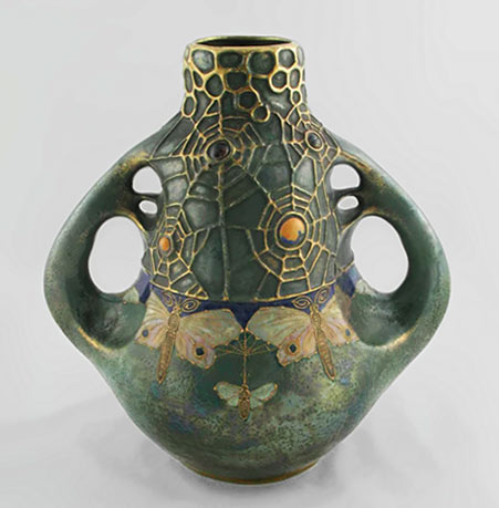 Art Nouveau vase with spider web and butterfly decoration ith gold highlights on green