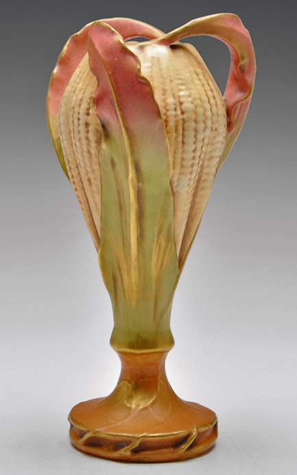 Art-Nouveau-Amphora vase shown at the Paris Exposition 1900, colorful corncob texture with red leaves