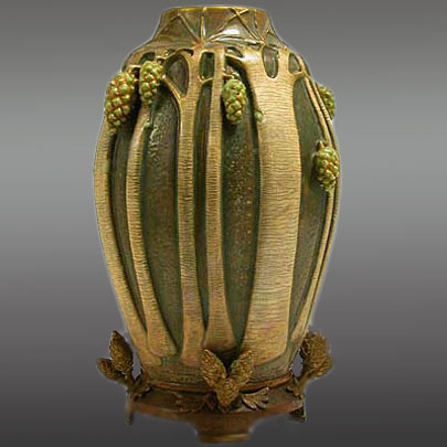 Amphora art nouveau pine cone vase with a bronze base