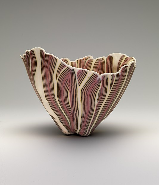 Curtis Benzyl contemporary ceramic bowl - brown, green, white wavy stripes