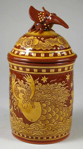 R.Geering sgraffito decorated jar- Cape Cod Girl