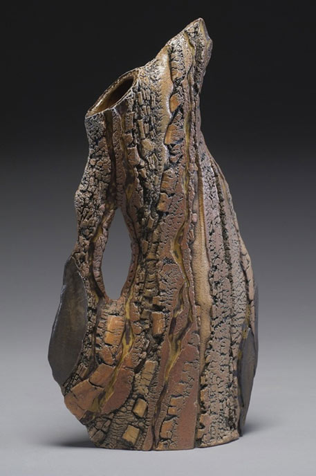 Carrie Doman ceramic pitcher with bark like surface