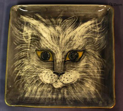 Square Hedi Schoop Original ceramic Cat Plaque plate