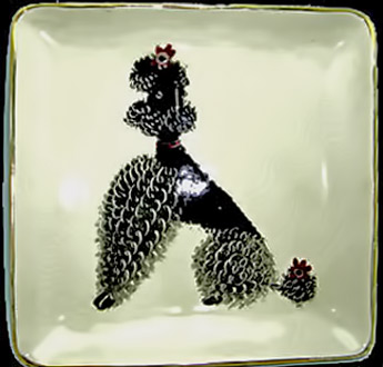 Hedi-Schoop-seated black poodle motif on square dish