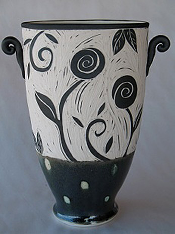 Off the Wheel Pottery twin handled vase in black and white sgraffito