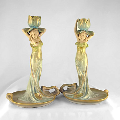 Two female figures in gold satin gowns candle holders with turquoise highlights by Ernst-Wahliss