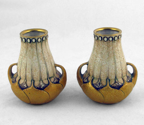 Pair-of-Paul-Dachsel art nouveau vases with gold highlights