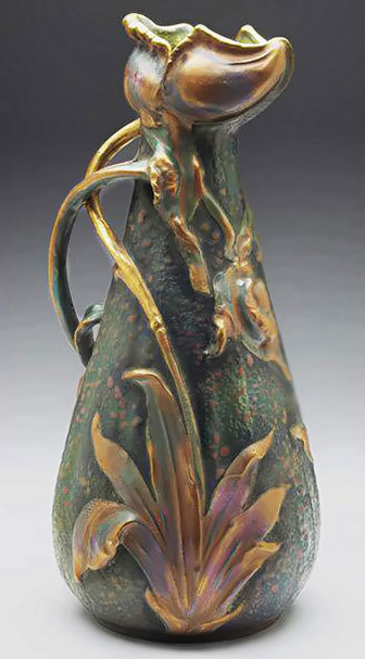 Beautiful art nouveau vase with botanical decoration