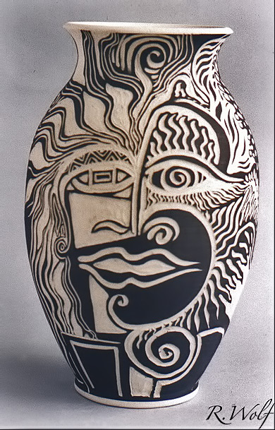Rachel Wolf,-Sgraffito-Baluster Vase with Picassoesque Face