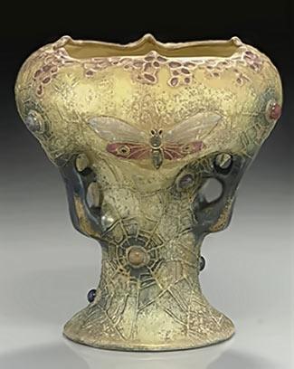 Amphora spiderweb/butterfly art nouveau vase