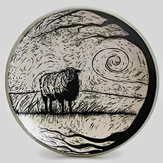 Stacy Stanhope - what are ewe- sgraffito sheep in a field