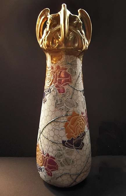 Teplitz Turn Amphora-RStK-Art-Nouveau-Vase with rose motifs