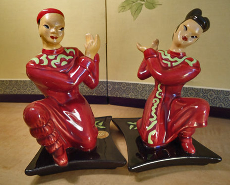 Yona-Asian-Pair in matching red and green outfits -etsy-VintageRevivalStudio
