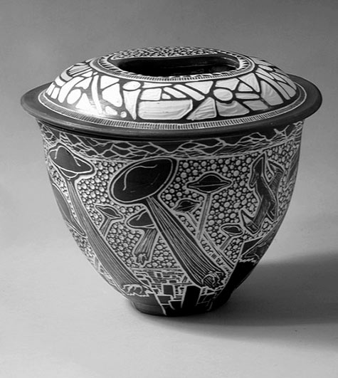 Tim Christensen sgraffito jar in bl;ack and white