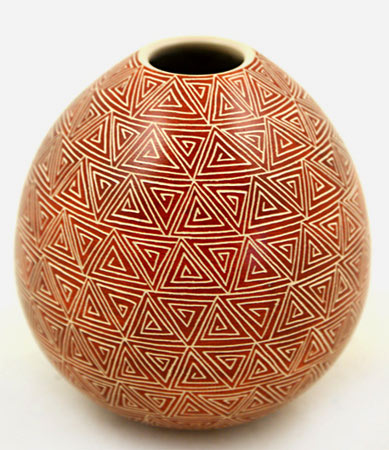 Ovoid vessel with geometric sgraffito decoration by Leonal Lope Jr