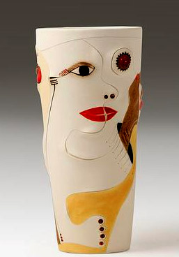 Africasso- Earthernware abstract pottery vase