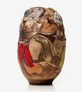 Africasso-Stoneware sculptural vessel