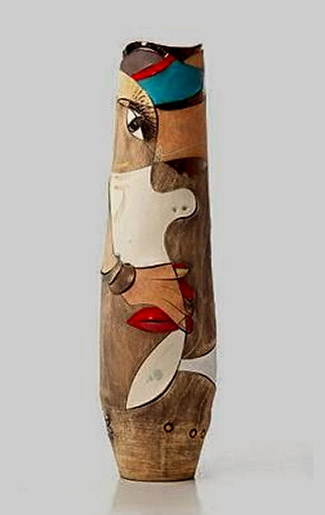 African abstract tall contemporary vase