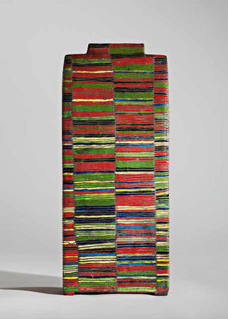 Bauhaus sequence with impurity by Ute Grossman - rectangular vase with horizontal stripes
