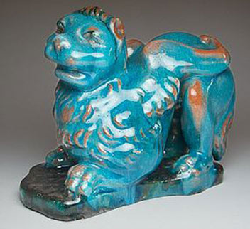 Cantagalli winged lion Italan pottery