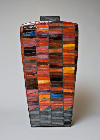 Nature scenery vase by Ute Grossman with mosaic finish