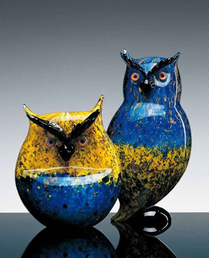 Owls Formia Murano art glass