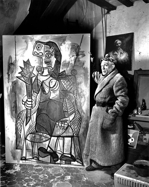 Picasso-In-Paris-Studio,-1944 with painting